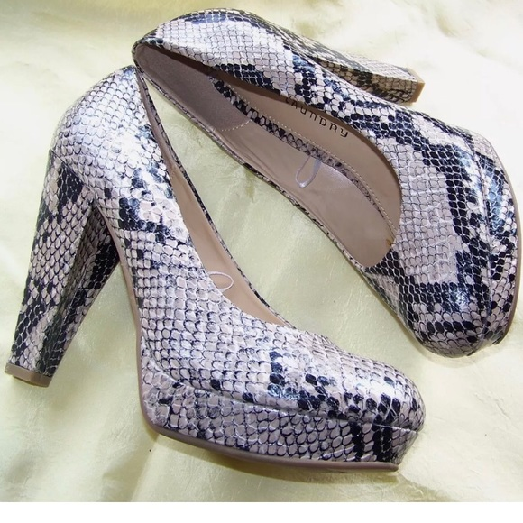 f4a8b756965 CHINESE LAUNDRY Snakeskin Pumps Chunky Heel NWOT